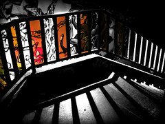 Colour The Darkness (_David_Meister_) Tags: light shadow bw white black colour stairs graffiti licht comic ceiling treppe farbe schatten schwarz gelnder weis superaplus aplusphoto sweetselectivecolor