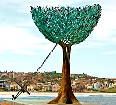 Bondi Beach, Australia - Sculpture by the Sea 2008 (Ann McLeod Images) Tags: ocean city sea sculpture colour tree water bondi bronze boat sydney australia anchor bondibeach nexus alexkosmas sculptureseasculpturebythesea