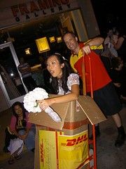 Mail Order Bride! (MSG Mike) Tags: california flowers woman man west guy halloween bride costume los order mail angeles box hollywood wife delivery express 2008 dhl mikesatoshigarcia