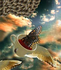 ch de borboleta. (Cibele Nogueira) Tags: collage surreal borboleta asas ch