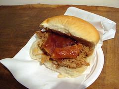 Hog roast roll with crackling at Oink, Grassmarket, Edinburgh