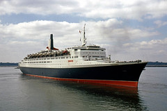 QE2 in Southampton Water, summer '69 (geoffspages) Tags: qe2