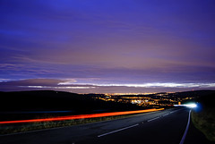Snake lights (SurfaceSpotting) Tags: road uk longexposure light color colour colors car night lights nikon colours peakdistrict trails amateur glossop amature snakeroad snakelights d40 michaelides visiongroup d40x surfacespotting georgemichaelides