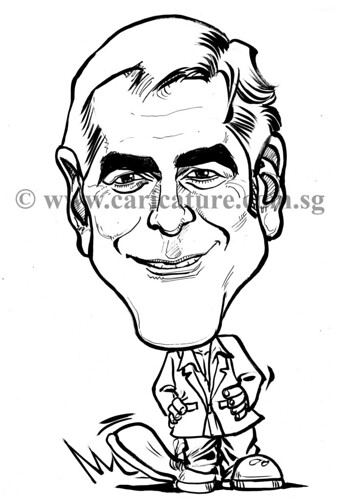 Celebrity caricatures - George Clooney ink watermark