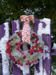 hung on the purple chair (knitalatte11) Tags: winter candle berries ribbon ferns handmadechristmas decoratingwithnaturalmaterials icewreaths veryinexpensiveandeasytomake unfortunatelyyoucantbuythecold winterweatherbutthereisloadsofbeautifulhomesforsaleinmyneighbourhood