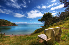 The Lookout (Chris Gin) Tags: ocean sea newzealand beach water island day clear auckland nz creativecommons topf100 hdr waiheke photocontesttnc09