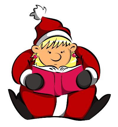CC Die lesende Weihnachtsfrau - das Maskottchen der Genderbibliotheks - Adventsaktion