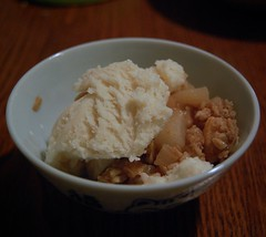Dessert: pear crumble with soy vanilla ice cream