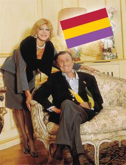 La familia Thyssen con una bandera republicana