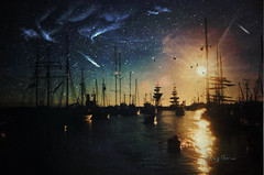 A Sailor's Dream (Imagemakercan - The Lensdancer) Tags: sun art birds digital river stars sailing bc ships creative richmond aurora brushes comet joygerowphoto impressedbeauty joygerow obsidiandawn theawardtree canadacanadacanada