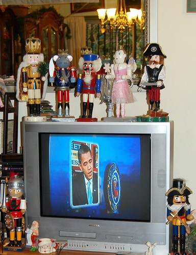 The nutcrackers guard the future president of the United States
