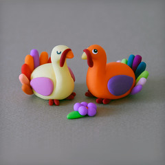 Sweet turkeys ({JooJoo}) Tags: thanksgiving orange cute bird animal animals yellow turkey miniature colorful purple decoration polymerclay etsy multicolor joojoo dollsandminiatures