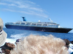 Olympic Countess, the ship for the eclipse, from a Zodiac to Bazaruto Island, Mozambique