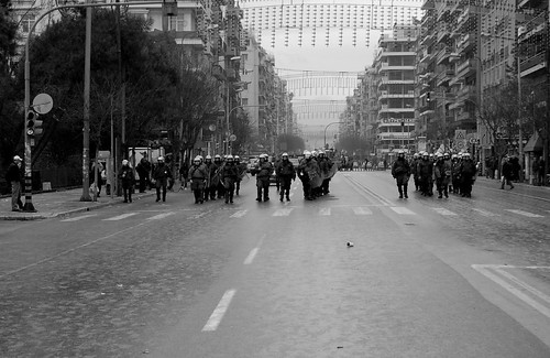 Riot police advancing down Egnatia St - Thessaloniki, Greece