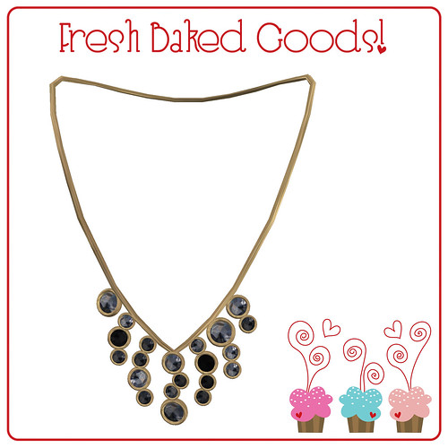 ~*Fresh Baked Goods*~ Black & White Sugar Gold Thumprint Cookie Necklace