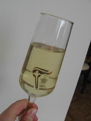 Drinking Moet & Chandon in Petro-Canada Olympic flutes!