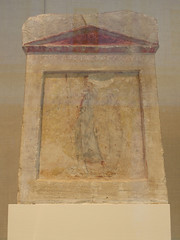 Painted Limestone Funerary Slab with Soldier Standing at Ease (griannan) Tags: 2009 funerary loh metmuseum greekandromangalleries opalartseekers4 WLA:org=metmuseum WLA:cat=1 WLA:team=opalartseekers4