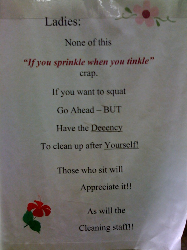 "Ladies: None of this ""If you sprinkle when you tinkle"" crap. If you want to squat Go Ahead - BUT Have the DECENCY To clean up after YOURSELF! Those who sit will Appreciate it! As will the Cleaning staff!"