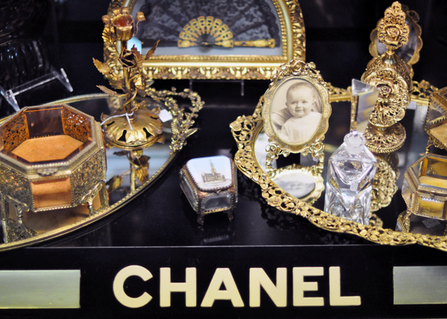 vintage chanel case + gold mirrored boxes