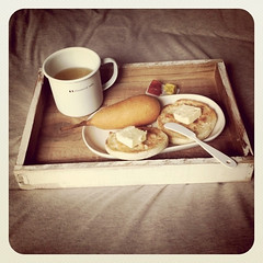 Breakfast in Bed (h i u . y u) Tags: breakfast corndog breakfastinbed instagram