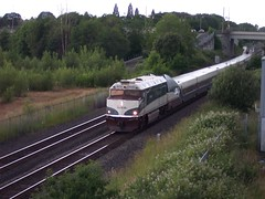Amtrak train #507 approaches the Springwater Trail overpass