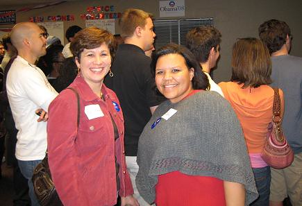 Mary Beth and Ebony at IOWA CAUCUS RESULTS Watch Party - Phoenix AZ