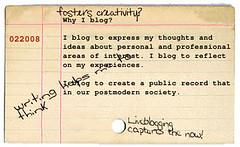 Why I Blog Card Catalog