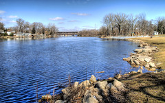 Fox River HDR version 2 FRG Illinois (bk photog) Tags: trees winter sky color water river seasons shore hdr hdri photomatix benkennedy 16x10