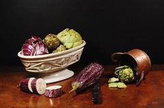 Freshly (floralgal) Tags: stilllife food vegetables eggplant decorative meals cabbage copper healthyfood artichokes ceramicbowl mealpreparation tabletopstilllife platinumphoto amazingshots vegetabledisplay decorativetabletopdisplay dianaleeangstadtphotography