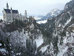 Neuschwanstein Castle - Schwangau, Germany (tossmeanote) Tags: bridge schnee trees snow castle pine germany deutschland bavaria europa europe king view palace distance neuschwanstein schloss ludwig marienbrucke tossmeanote