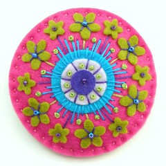 LIME BLOSSOM, ART NOUVEAU INSPIRED FELT FLOWERS BROOCH (APPLIQUE-designedbyjane) Tags: pink flowers art beads pin blossom brooch silk seed felt cotton lime nouveau corsage embroidered