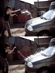 Throwing water (dreamyourealive) Tags: me water car exposure short splash washing throwing bigass