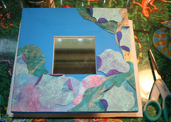 decoupaging paper blue Artsy Mirror