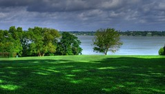 White Rock Lake (JoWiJo) Tags: park shadow sky plants sun lake nature water grass clouds botanical lawn shade hdr dallasarboretum whiterocklake top20texas bestoftexas
