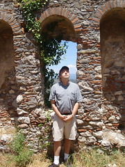 Byzantine ruins and me (steven_and_haley_bach) Tags: me myself dad steven byzantine mystras sixthday mistras greecevacation byzantineruins