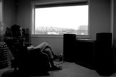 first time listening to the new sigur ros (michaelwalcher) Tags: house selfportrait home window coffee barn chair sitting mug sigurros speakers