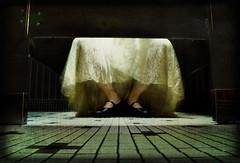 abduction (elise*marie) Tags: selfportrait texture bathroom dress hiding dirtyfloor smallroom
