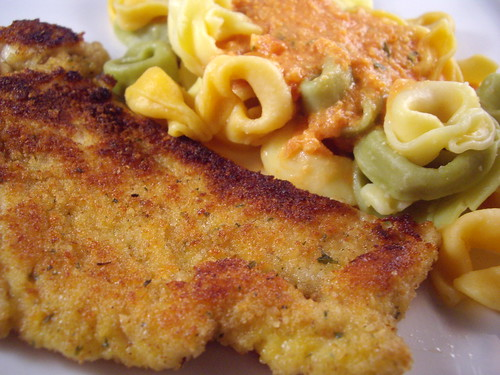 Parmesan Chicken with Tortellini in Tomato Cream Sauce