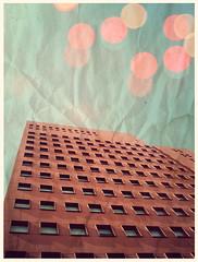 En lo alto, (celiaaa) Tags: blue windows red sky texture yellow mxico vintage hotel rojo bokeh circles ventanas whatever mty monterrey lightblue caminoreal circulos redhotel bokehlights celiaaa
