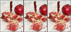 Pomegranate- Triplet (Shahrokh Dabiri) Tags: red knife stereo setup sidebyside sterography cmposition pomegranatetriplet frueit