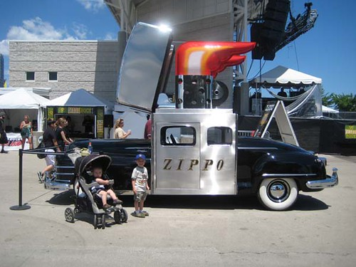 The boys & a giant Zippo car