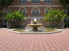 USC Fountain (youneverknowphotography) Tags: california trees building fountain university bricks palm southern usc
