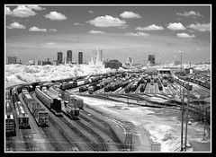 Fort Worth Railroad Tracks in IR (Shawn O'Connell Photography) Tags: railroad blackandwhite bw digital ir nikon downtown texas d70 tracks trains filter infrared fortworth digitalinfrared hoya72 top20texas bestoftexas shawnoconnell shawnoconnellphotography