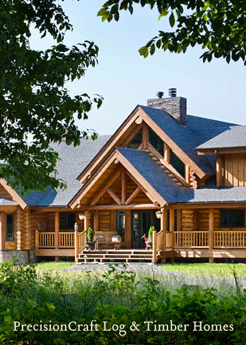 Log Home Front Elevation | Custom Log Home by PrecisionCraft Log Homes