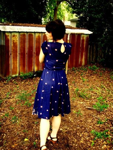 sheer navy floral dress