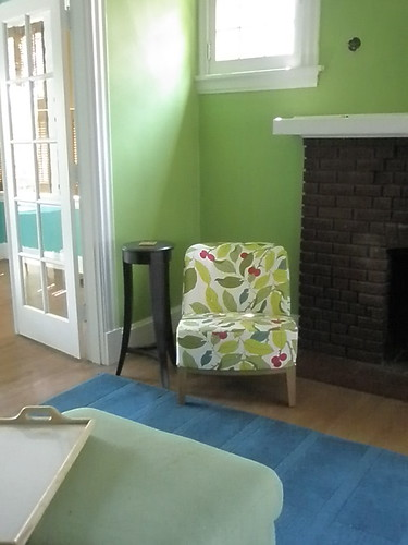 IKEA chair with lime green paint