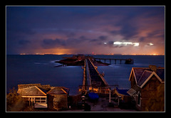 Birnbeck Night (Roger.C) Tags: sea sky water night canon dark pier sigma coastal weston birnbeck