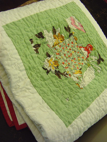 Birds & Blooms baby quilt all folded up!