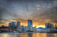 Kobe Sunset (dai oni) Tags: sunset sky japan clouds port buildings japanese one harbor nikon raw mosaic contest kobe single hdr harborland 2470 d700 photoweekly
