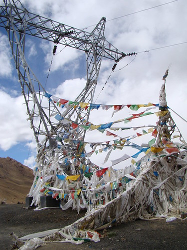 Power Lines Draped in Prayer Flags